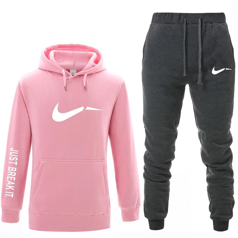 2019 otoño e invierno marca ropa de hombre casual sudadera hombres y mujeres pulóver con capucha de dos piezas + Pantalones deportes traje de camisa