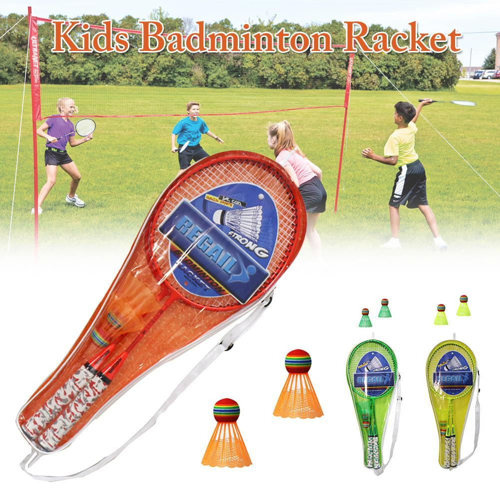 1Pair Youth Children's Badminton Rackets Sports Cartoon Suit Toy For Children Badminton Racket Set With Two Balls Kids Badminton