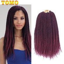 TOMO волосы 22 корней, Сенегальские закрученные косички, косички Омбре, коричневые, бордовые, красные косички, синтетические волосы для наращи...