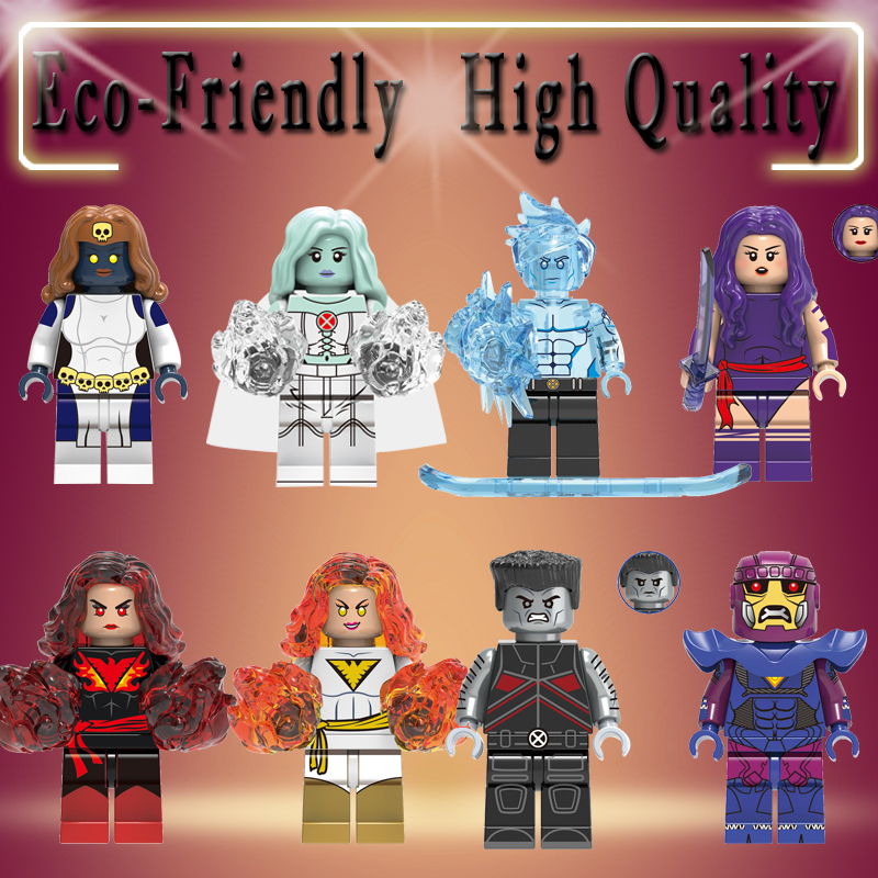 Super Heroes Legoed X-Men Dark Phoenix Colossus Sentinel Psylocke Iceman White Queen Mystique Buidling Blocks Child Toys X0277