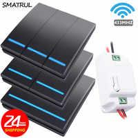 SMATRUL 1/2/3 gang 433Mhz smart push interrupteur sans fil lumière RF télécommande 110V 220V récepteur panneau mural bouton plafonnier