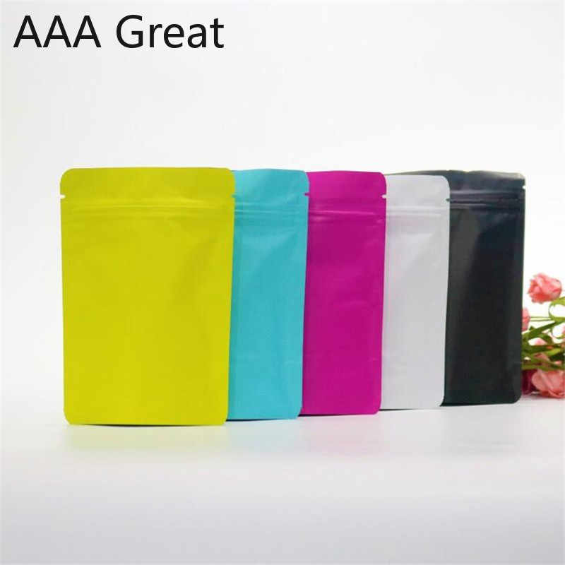 100Pcs/Lot Matte Aluminum Foil Bag Stand Up Ziplock Food Bags Self Sealing General Packing Bag Thickened Coffee Bags Pouches New