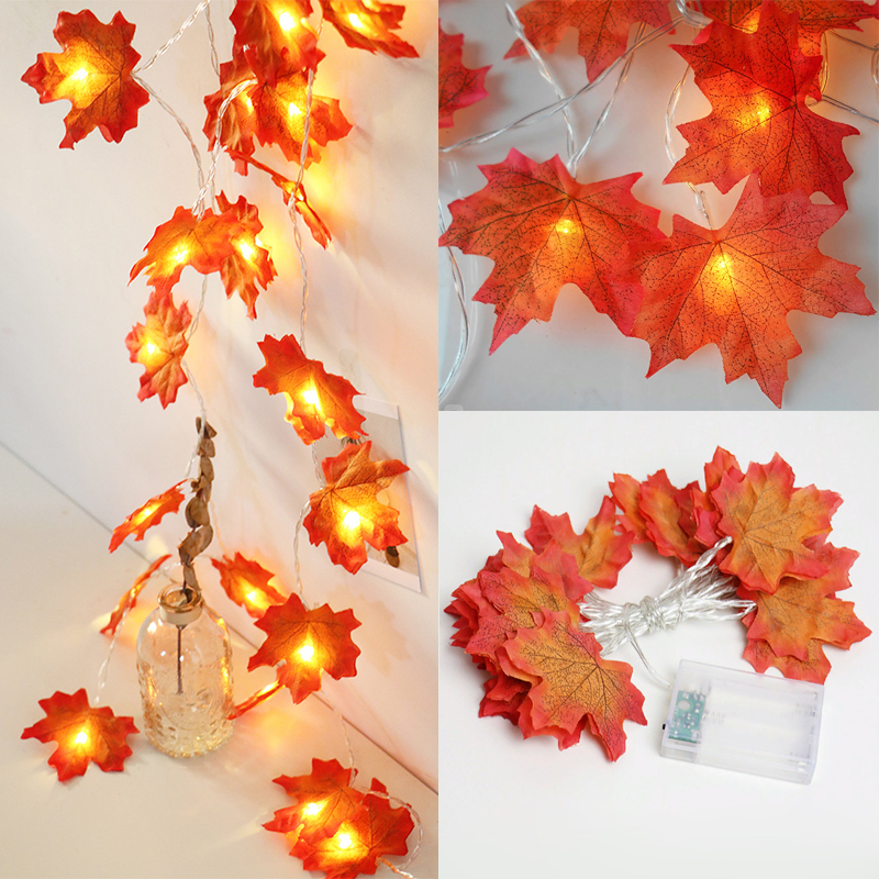 1/2/3/4M Warm Light 10/20/30/40 Led Maple Leaves String Lights Battery Powered Garland Led Fairy Lights For Christmas
