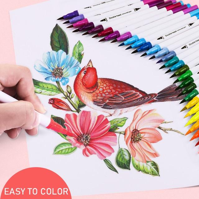 12/18/24/36/48/72/100PCS Colors FineLiner Drawing Painting Watercolor Art Marker Pens Dual Tip Brush Pen School Supplies 3