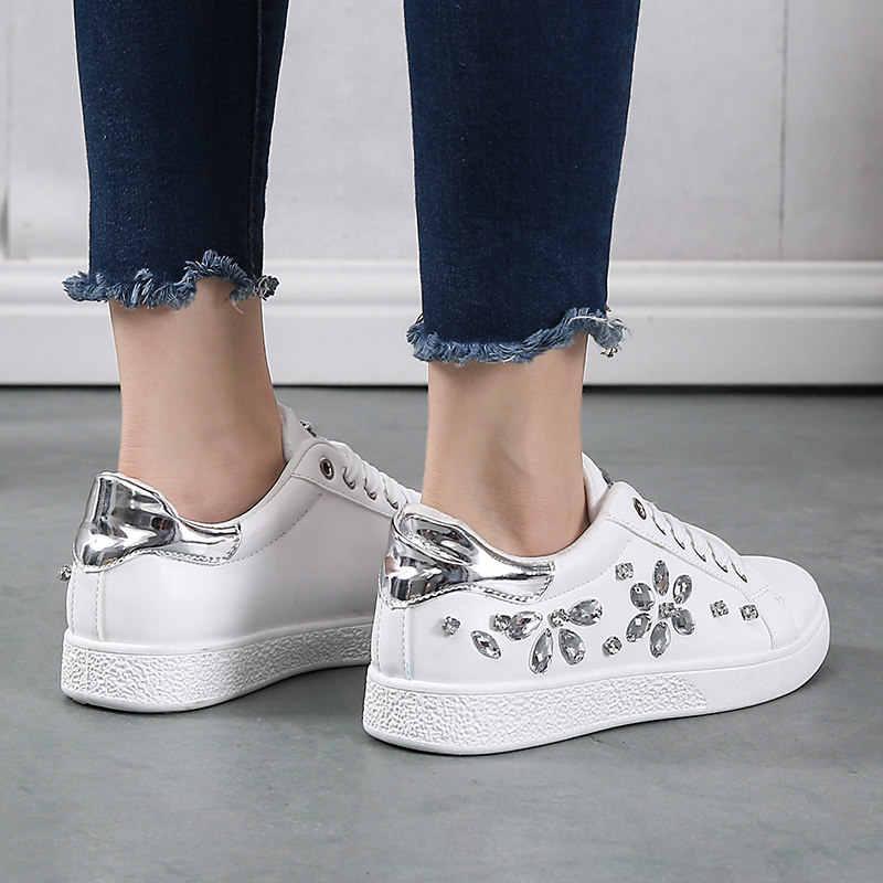 Pembe platform ayakkabılar sneakers kadın vulkanize ayakkabı pu yumuşak deri koşu ayakkabıları kadın koşu spor ayakkabı kristal