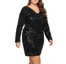 Large Size 5XL Women Party Dress Sexy Sequined Bodycon Cocktail Club Loose Big Ladies Dresses Plus Oversized