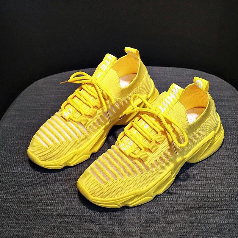Женская обувь желтого цвета; сезон осень лето; спортивная обувь из сетчатого материала; Повседневные Дышащие Кроссовки для бега на плоской платформе со шнуровкой; Zapatos De Mujer|Беговая обувь|   | АлиЭкспресс