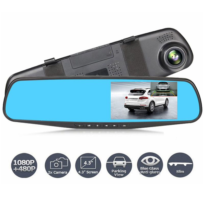 DVR Dual Objektiv Auto Kamera Full HD 1080P Video Recorder Rückspiegel Mit rückansicht DVR Dash cam Auto registrater
