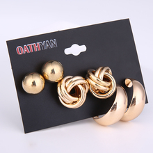 3 Pairs/set Punk Style Fashion Hollow Round Ball Big Stud Earrings For Women Trendy Gold Circle Earrings Set Mix Ladies Jewelry 3 pairs set trendy gold frosted heart stud earrings for women fashion metal hollow ball big circle earring set mixed jewelry