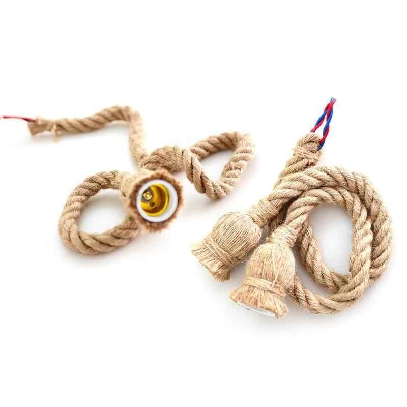 Cuerda de cáñamo, cable eléctrico Homekit, portalámparas DIY E27 bombilla colgante, luz Industrial, cable eléctrico, base de lámpara homekit