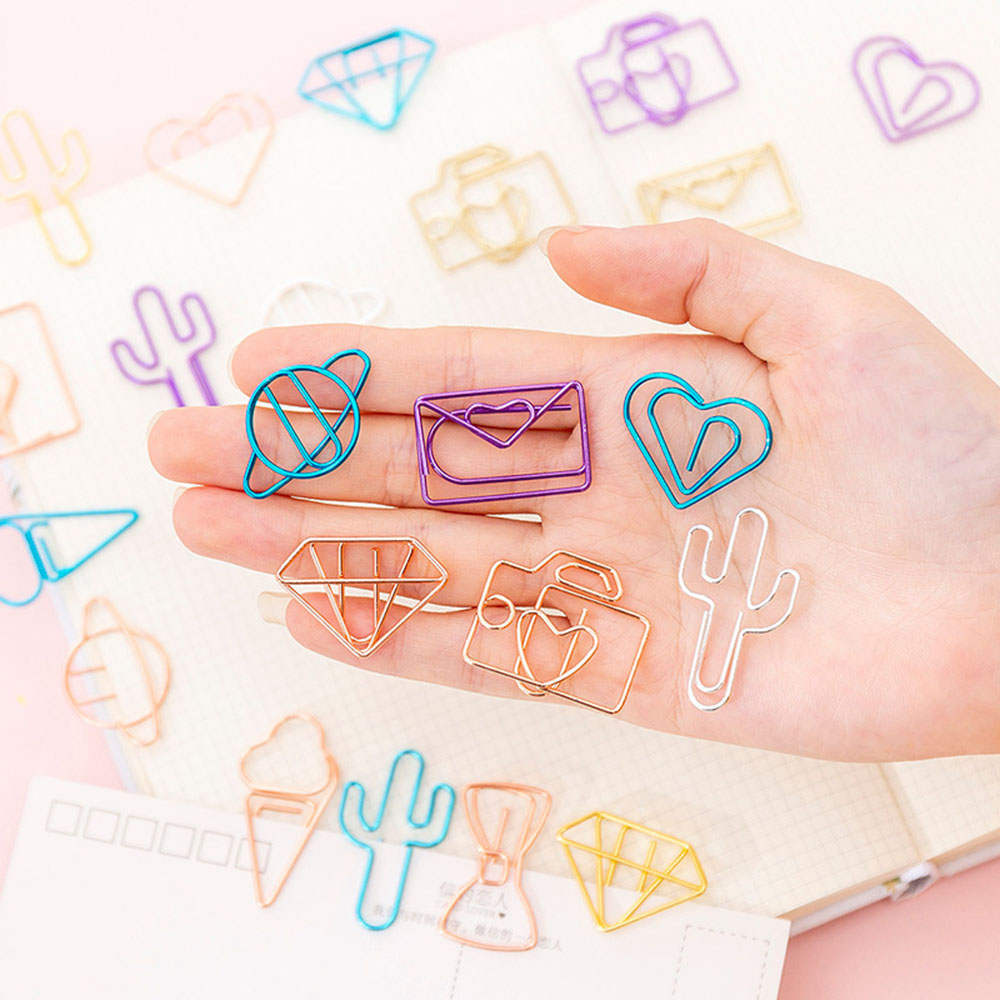 10Pcs Diamonds Ice Cream Camera Bookmark Clip Hollow Out Metal Binder Clips Notes Letter Paper Clip  Bookmark Office Supplies