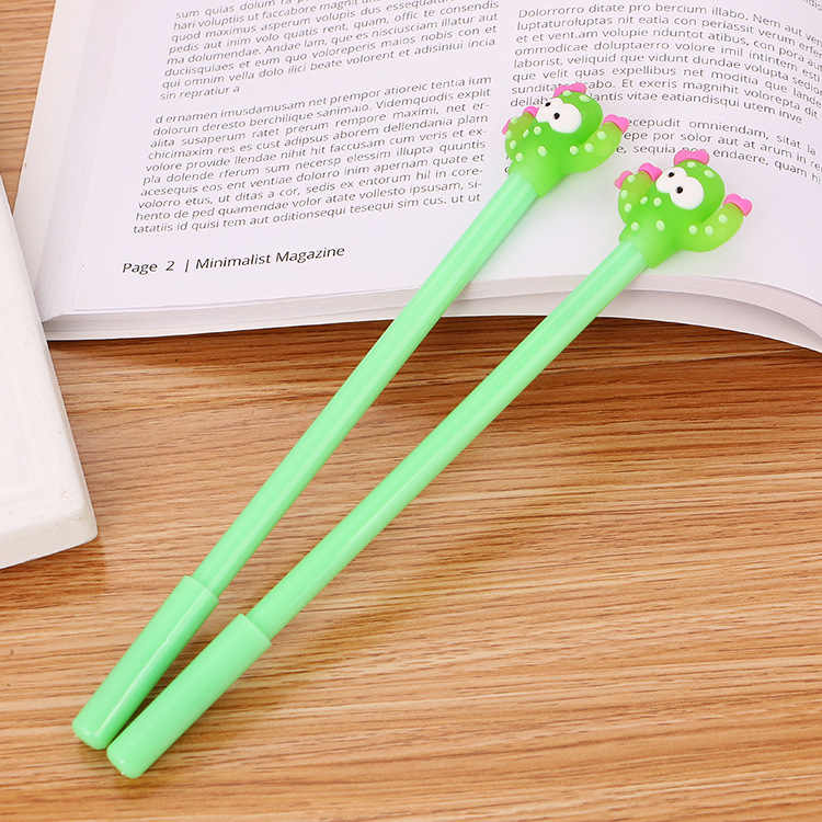1 個グリーンサボテン耐久性ボールペン回転ポケットペンポータブルボールペンかわいいオイルペン絶妙な筆記具