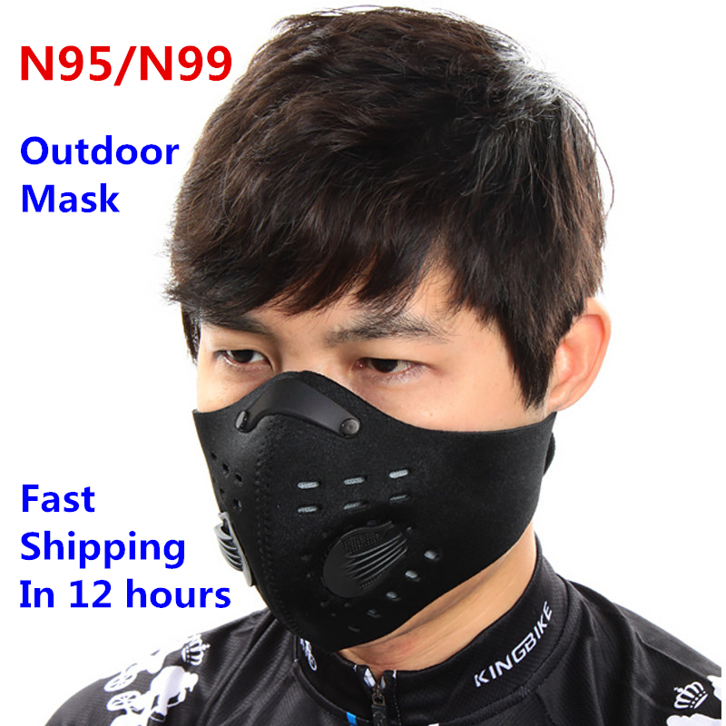 N95 N99 Cycling Mask FFP3 Bike Active Carbon With Filter Dust Mask Breathing Valve Anti-Pollution Running Protective Face Mask