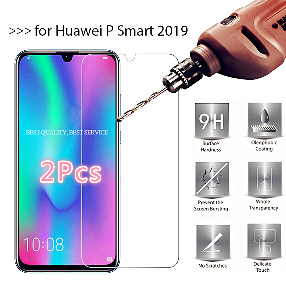 2Pcs Tempered glass For huawei Y6 Y5 Y9 P Smart 2019 Screen Protector Protective glass on honor 20 View 20 7A 8X 10 9 lite glass image