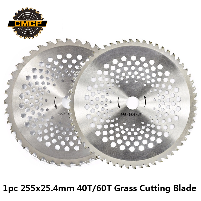1pc 10 Inch 40T/60T Alloy Brush Cutter Saw Blade Lawn Mower Grass Trimmer Blade Garden Tool Replacement 255x25.4mm Cutting Disc