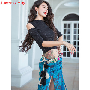 Image 3 - Saia para treinamento de dança do ventre, roupas femininas para treino de dança do ventre, saia com brilho oriental, desempenho indiano para prática de dança