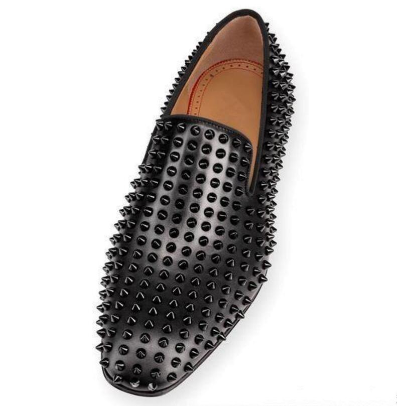 Новинка; брендовые лоферы с красной подошвой; Роскошная обувь для вечеринки и свадьбы; дизайнерские черные модельные туфли из лакированной кожи и замши; мужские слипоны на плоской подошве - 6
