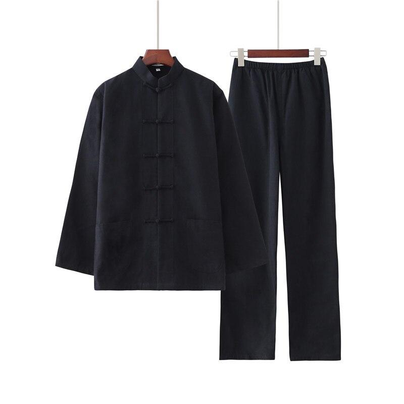 Мужской однотонный костюм кунг фу из 100% хлопка, новый комплект из рубашки и брюк в китайском стиле Wu Shu, лидер продаж, одежда Тай Чи, одежда для детей 1 5 лет, 2019|Наборы| | АлиЭкспресс