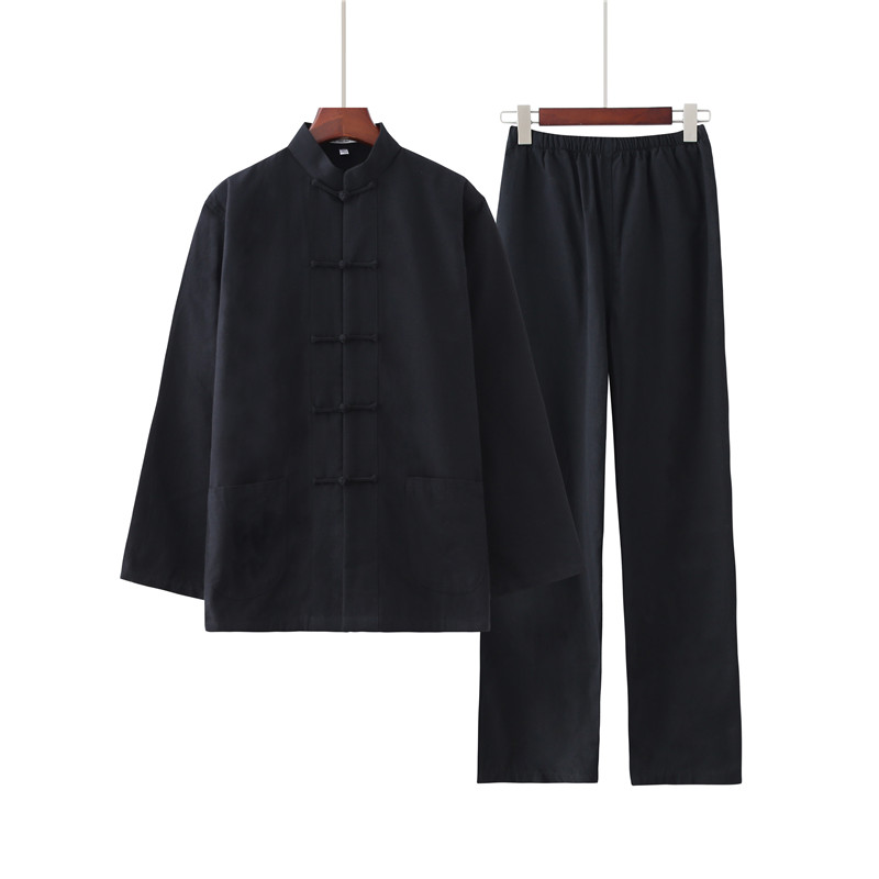Men's 100% Cotton Solid Color Kung Fu Suit New Chinese Style Wu Shu Shirt&Trousers Sets Hot Sale Tai Chi Clothing M-4XL