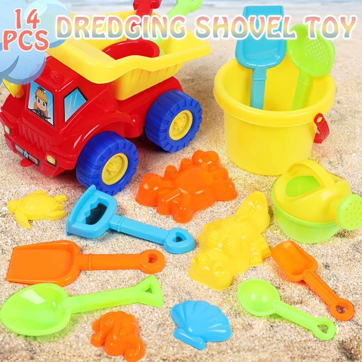 14Pcs/Set Kids Beach Truck Shovel Rake Animal Molds Kit Garden Sandpit Pool Storage Toy Collection Sand Away Beach