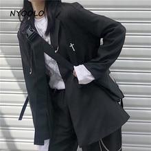 NYOOLO Vintage cross embroidery Elegant black blazer Autumn streetwear Single br