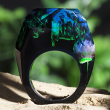 Anillo de resina epoxi KCALOE, anillo de resina de flores naturales de montaña para mujer, joyería Vintage de madera, regalo ideal para bodas y fiestas