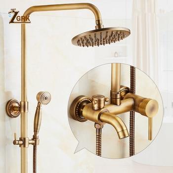 ZGRK Antique Brass Shower Faucets Set 8'' Rainfall Shower Commodity Shelf Dual Handle Mixer Tap Swivel Tub Spout Bath Shower