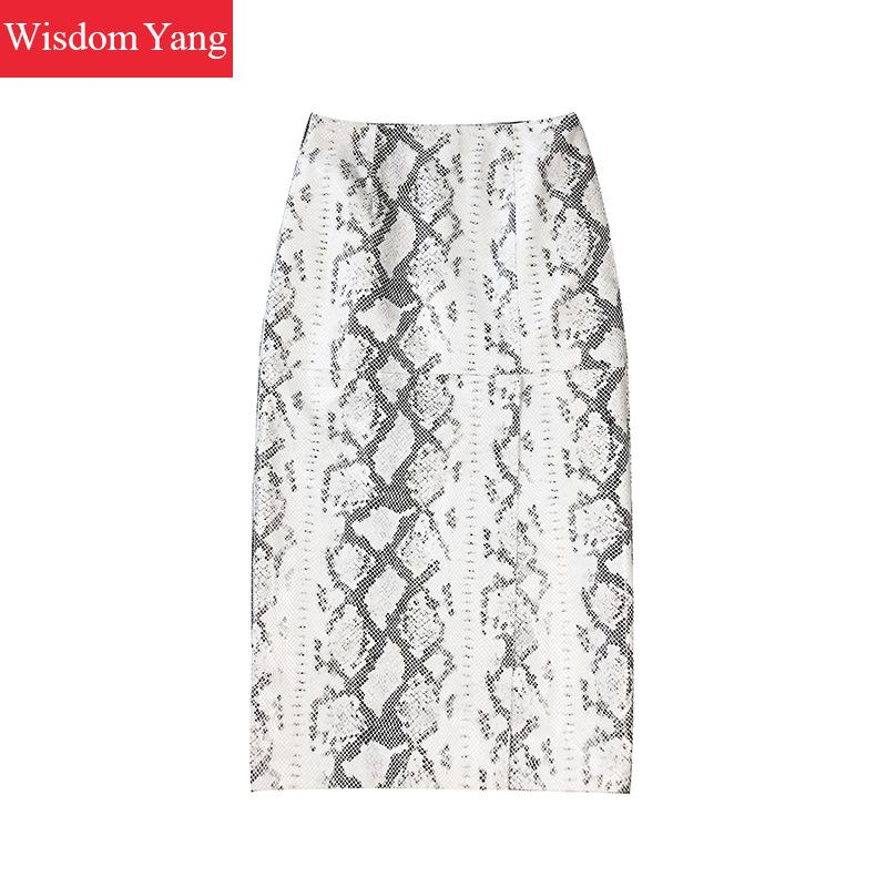 Autumn Long Skirt SheepSkin Genuine Leather Skirt High Waist Pencil Midi Skirts Women White Snakeskin Sexy Ladies Korean Clothe image