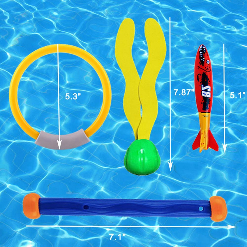 Diving Toys Underwater Sinking Swimming Pool Toy, Diving Rings & Sticks, Tor Pedoes, Water Grass, Dive Training Gift For Kids (