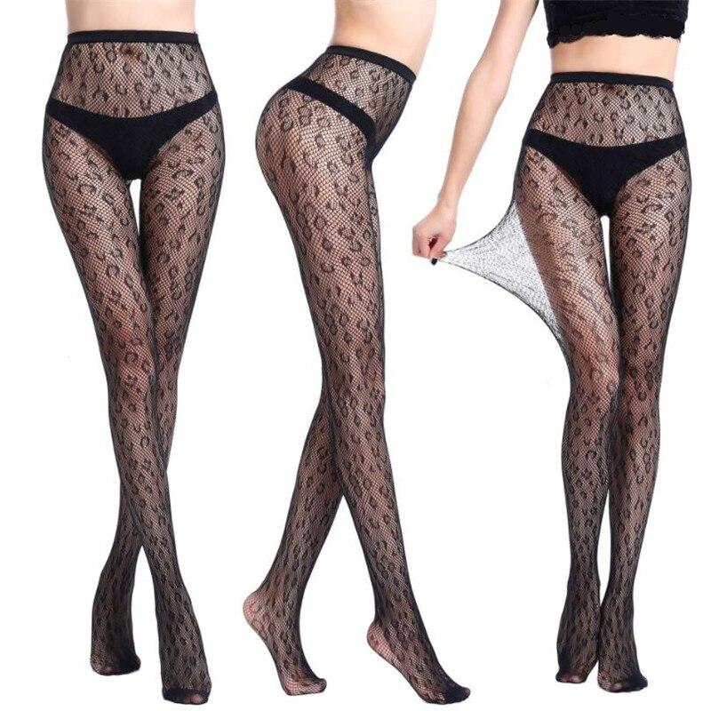 Fashion Leopard Sexy Stockings Ladies Hollow Out Pantyhose Fishnet Stockings Mesh Elastic Print Tight Black High Waist Pantyhose