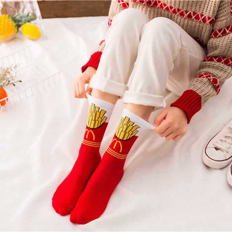 Women's Socks Avocado Fries Milk Fun Cotton Medium Tube Socks Harajuku Socks Men's Socks Hip Hop Funny Socks Christmas Gift Sock