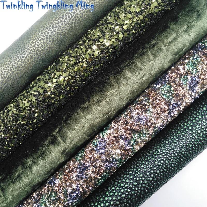 Зеленая объемная блестящая кожа, тисненая искусственная ткань с икрой, бархатная ткань с крокодиловой текстурой для банта 21x29 см, мерцающая,...