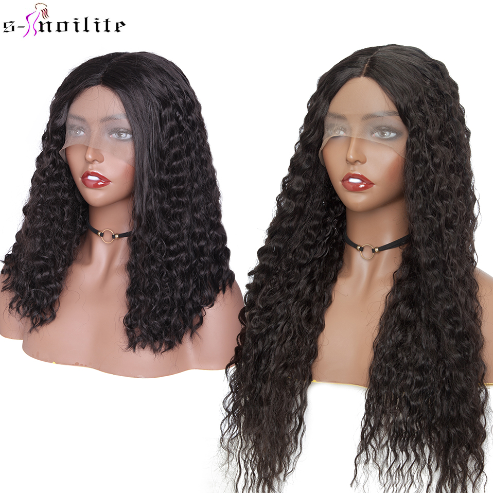 SNOILITE Synthetic Water Wave U Part Lace Front Wig Brazilian Long Wave Ombre Hair Wigs Glueless Middle Part Wig For Women