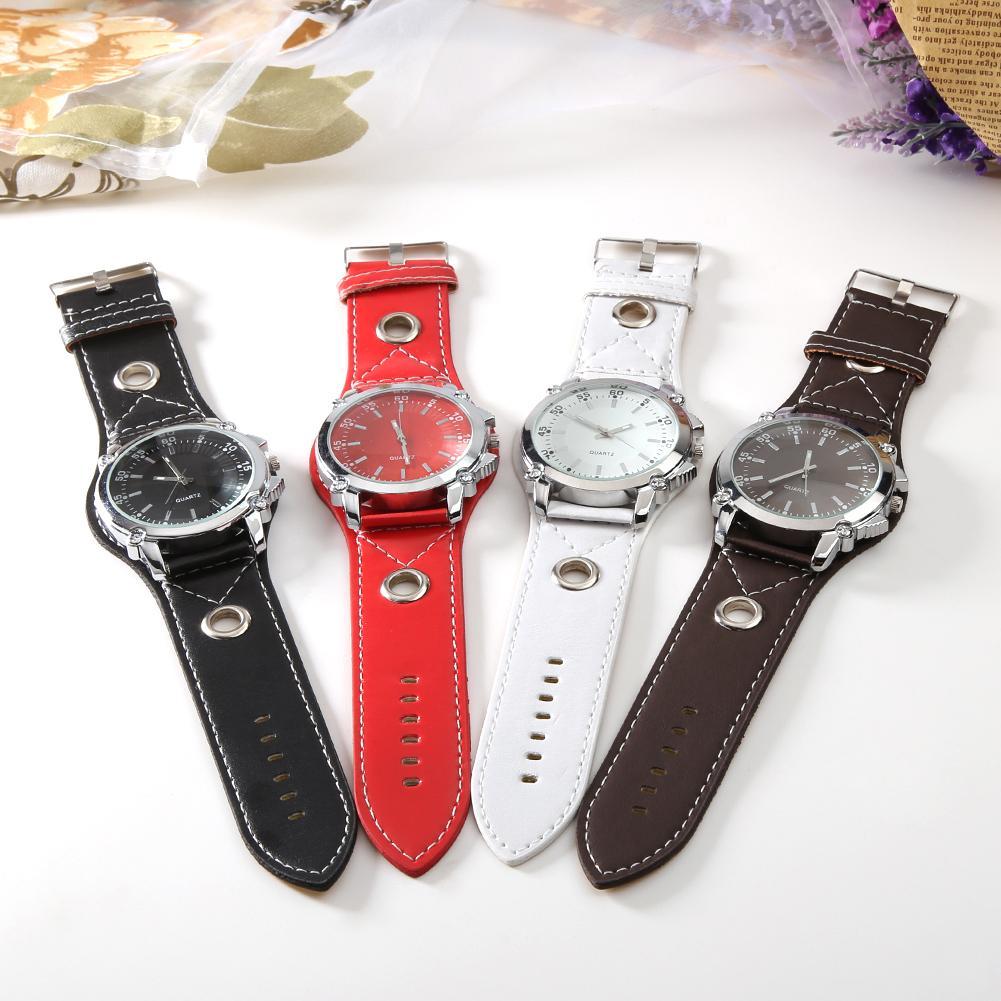 Men Fashion Watch Faux Leather Watch Band Large Round Alloy Dial Analog Quartz Casual Business Male Wrist Watch Zegarek Meski
