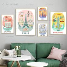 Travel City Canvas Painting Hong Kong Singapore Paris Vintage Posters Modular Pictures On The Wall Aesthetic Room Decor for Home
