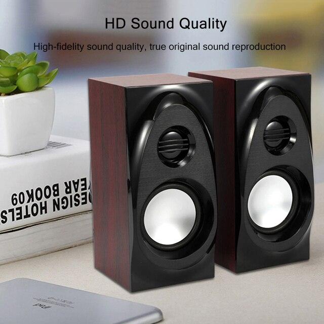 Wooden Desktop Speakers 3.5mm AUX Input USB Power Computer Speakers for Laptop Desktop Phone Audio Loudspeaker 2