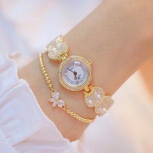 Image 2 - Женские кварцевые наручные часы, модные золотистые наручные часы из нержавеющей стали с бриллиантами, женские наручные часы, браслет Wtach для девочек, 2019