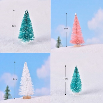 Small DIY Christmas Tree Fake Pine Tree Mini Sisal Bottle Brush Christmas Tree Santa Snow Frost Village House image