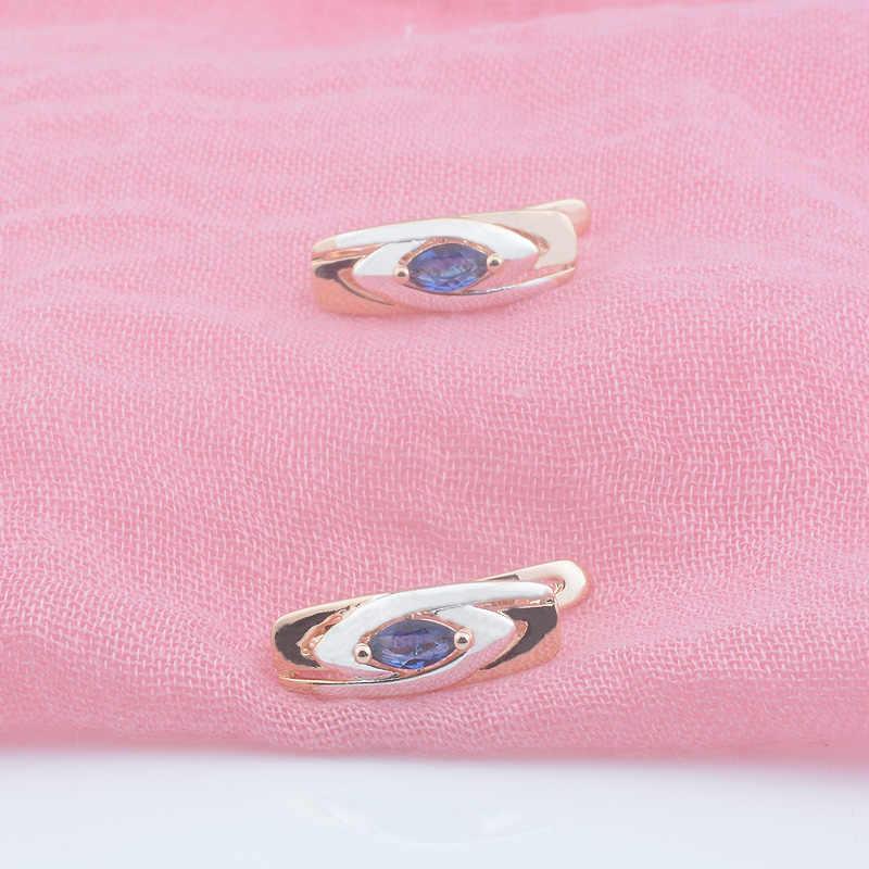 FJ Delle Donne 585 In Oro Rosa di Colore Blu Scuro Misto Bianco Orecchini a pendaglio