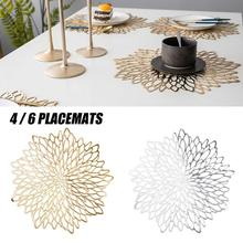 Christmas 2021 PVC Placemat for Dining Table Mat Heat Resistant Hollowed-out Coaster Napkins Cookware Pads kitchen Accessories