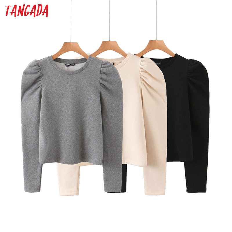 Tangada Women Fashion Solid Color Sweatshirts Puff Long Sleeve O Neck Loose Pullovers Female Tops QB68