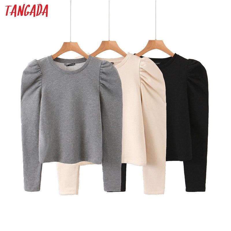 Tangada Women Fashion Solid Color Sweatshirts Puff Long Sleeve O Neck Loose Pullovers Female Tops QB68