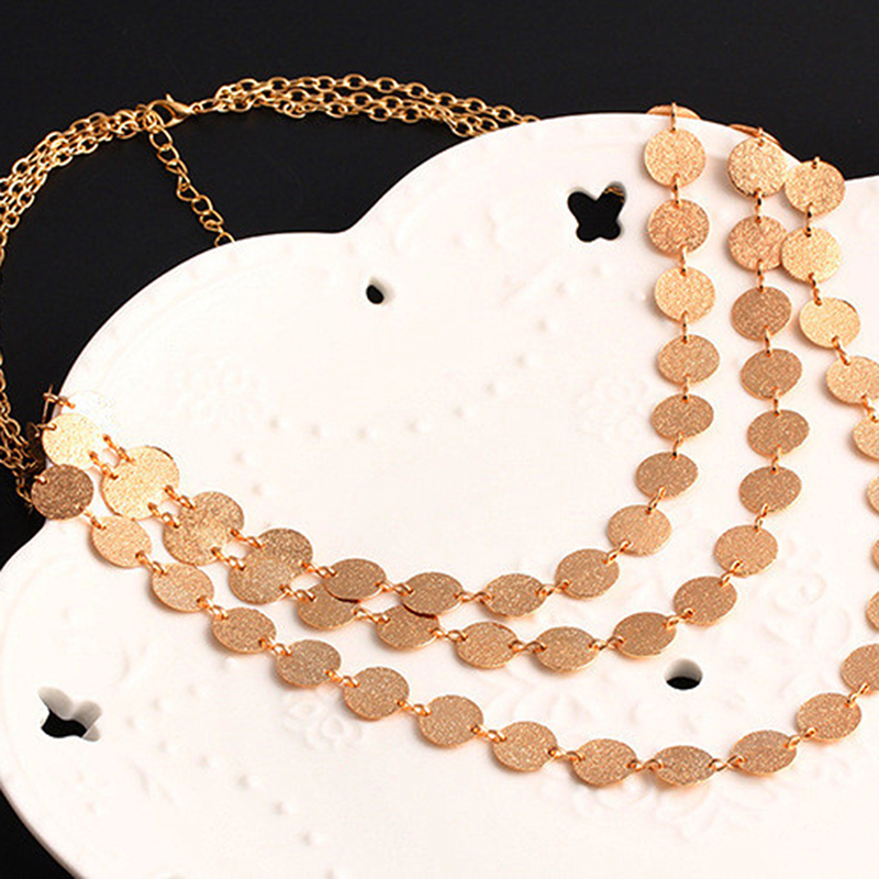 2020 Fashion Coin Choker Necklace Multilayer Round Charm Collier Femme Maxi Necklace For Women Accessories Pakistan