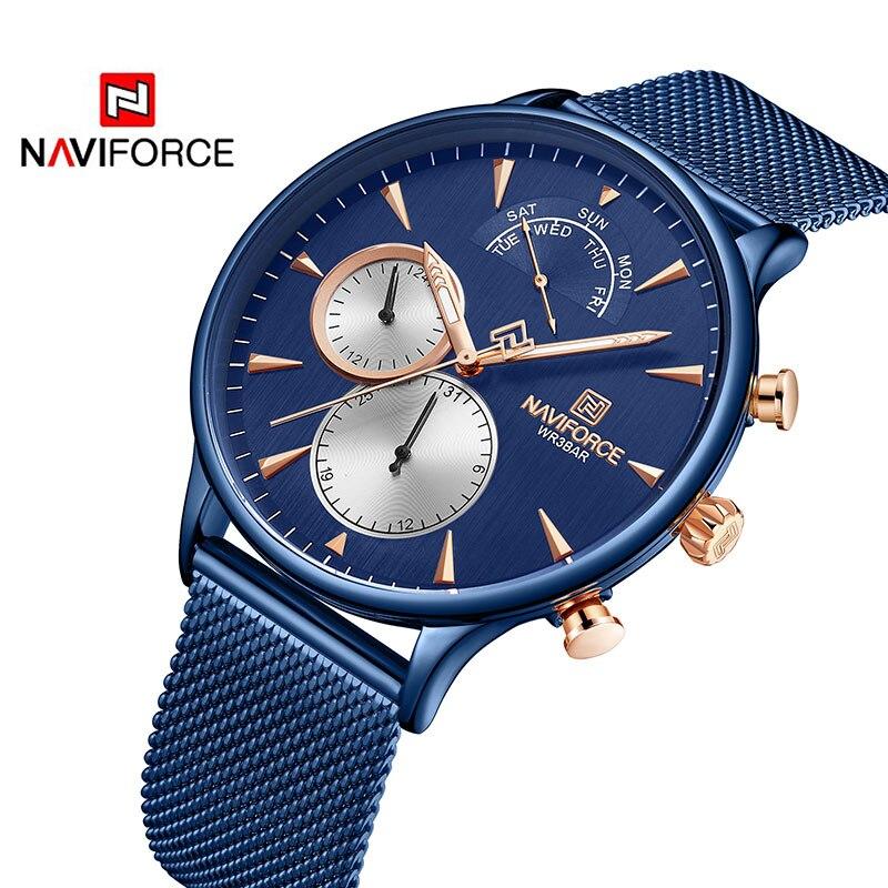 NAVIFORCE Топ бренд класса люкс мужские часы из нержавеющей стали мужские s часы кварцевые спортивные водонепроницаемые мужские наручные часы Relogio Masculino