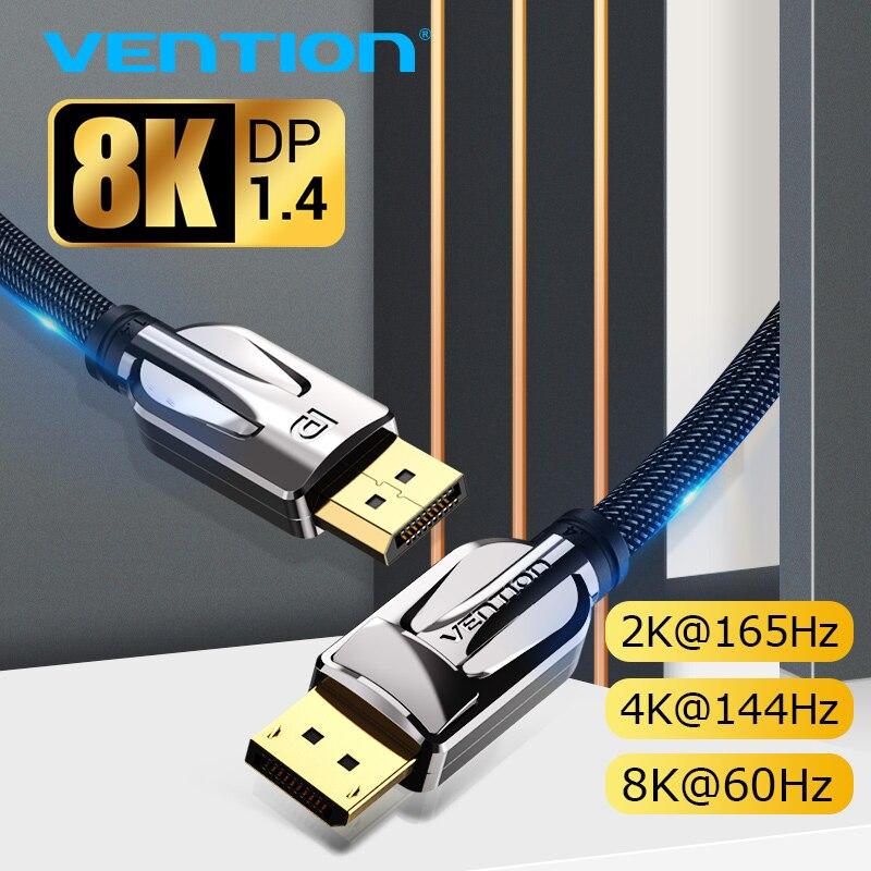 Vention displayport 1.4 cabo 8 k @ 60 hz de alta velocidade 32.4 gbps expositor porto cabo para vídeo pc portátil dp 1.4 porta exibição 1.2 cabo