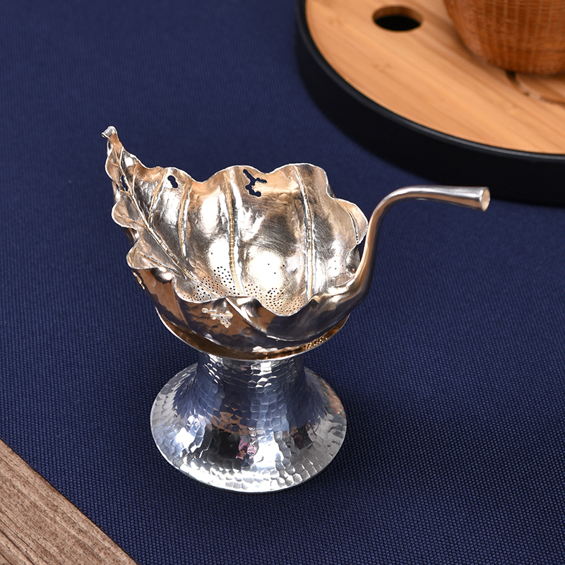 Mulberry Sterling Silver Tea Leak Bodhi Leaf Teapot Tea Strainer Handmade 999 Sterling Silver Tea Artifact