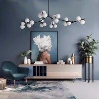 Lámpara LED de techo con bolas de cristal, accesorios de iluminación para dormitorio y sala de estar, estilo ramas de oro negro, postmoderno