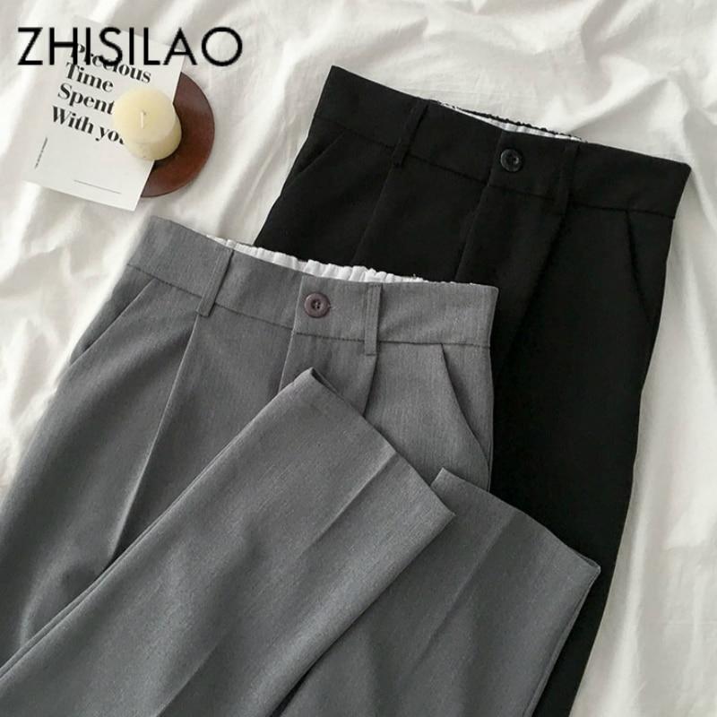 Формальные женские элегантные офисные брюки с высокой талией, свободный Блейзер, брюки с широкими штанинами, прямые брюки, лето 2020, рабочая одежда черного цвета|Брюки |   | АлиЭкспресс