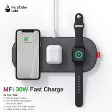 Mfi Draadloze Oplader 3 In 1 Opladen Pad 30W Fast Charger Voor Iphone 11 Pro Airpods Pro Horloge Serie 5 4 3 2 Draadloze Oplader