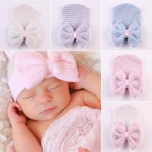 Novo adorável bonito recém-nascido da criança infantil chapéu do bebê menina confortável grande bowknot bonés do hospital quente gorro chapéu cabeça acessórios